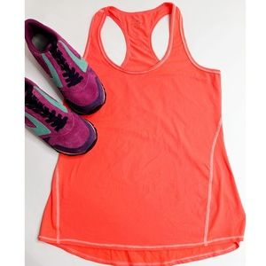 Athleta Neon Orange Racerback Tank Top Size Small